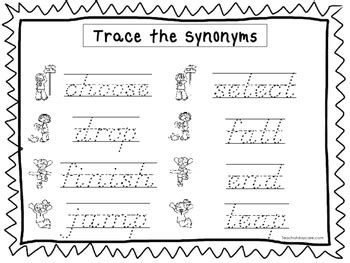 2 d nealian trace the synonyms worksheets preschool 2nd 655 | original 2573910 1