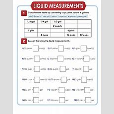 Liquid Measurement Conversion  Worksheet Educationcom