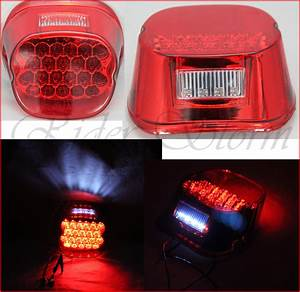 Red led crystal tail brake light for harley davidson dyna