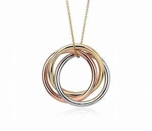 Infinity Rings Pendant in 14k Tri-Color Gold | Blue Nile