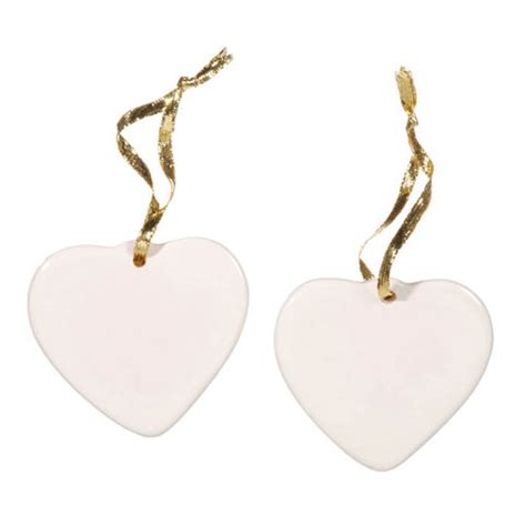 porcelain blank craft heart christmas ornament 3 5 quot