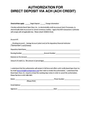 fillable ach deposit authorization form template edit