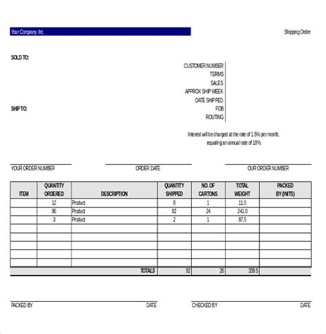 Boat Note Shipping by 27 Delivery Order Templates Free Sle Exle