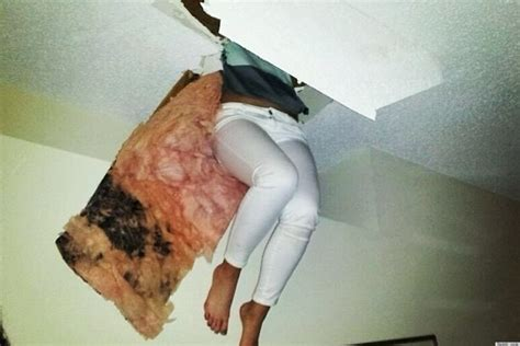 man having hot flush girl fell through attic floor at a party while hiding from