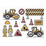 Construction Vector Road Icons Roller Vectors Clipart