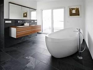 Fliesen Für Badezimmer : fliesen badezimmer ideen mit schwarz stein bodenfliesen ~ Sanjose-hotels-ca.com Haus und Dekorationen