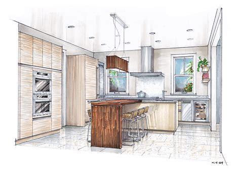 sketch drawing   kitchen  island google search