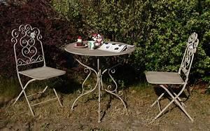 Bistrotisch Und Stühle : bistro set jette metall grau balkonm bel 1x tisch 2x stuhl ~ Michelbontemps.com Haus und Dekorationen