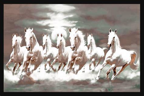Seven White Horses 24x36 Inches Fine Art Print Art