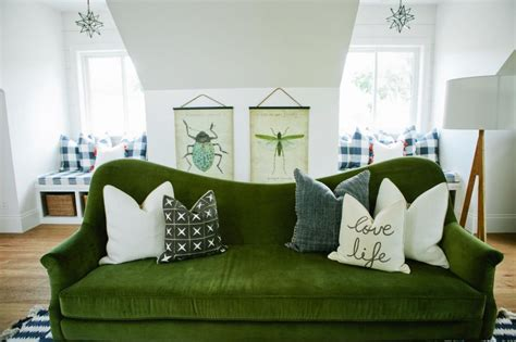 whimsical living room with apple green sofa hgtv