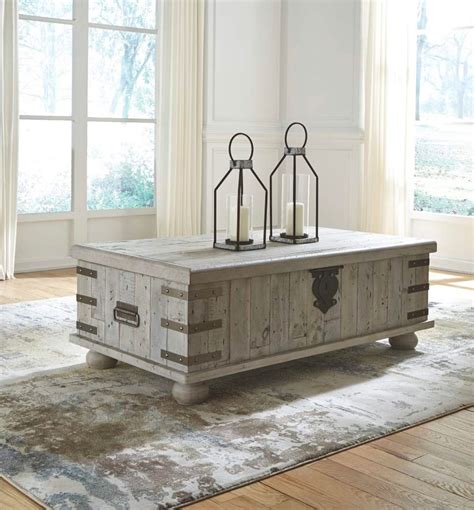It's a perfect size for my small living room and i love having a white coffee table. Rustic-Rectangular-Grey-Coffee-Table-Storage-Trunk-Weathered-Wood - Awesome Decors