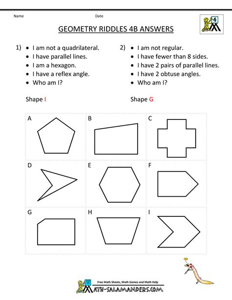 printable geometry worksheets riddles