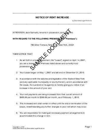 notice of rent increase notice of rent increase australia templates Ontario