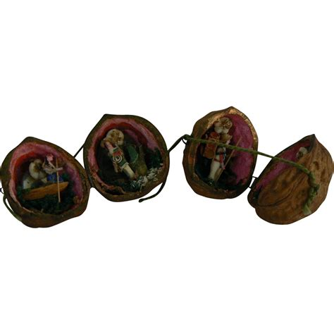 rare vintage walnut christmas ornaments tiny very old