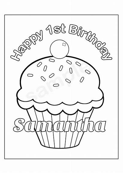Coloring Birthday Pages Cup Cupcake Cake Printable