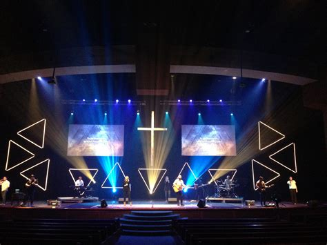 led geometry church stage design ideas