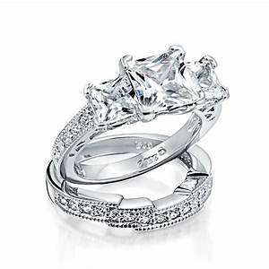 925 sterling silver princess cut cz wedding engagement for Wedding ring engagement ring set