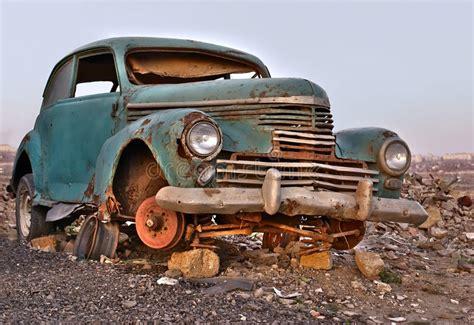 Old Broken Rusty Abandoned Car Stock Image