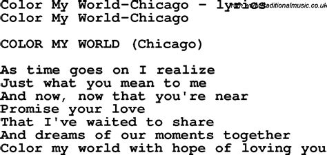 color my world by chicago song lyrics for color my world chicago