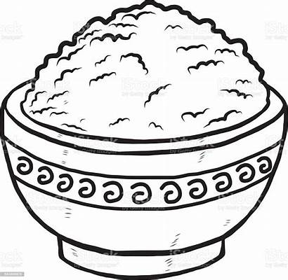 Rice Bowl Clipart Vector Drawing Clip Dinner