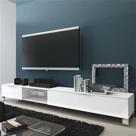 meuble tv blanc bas design large thalie sur cdc design