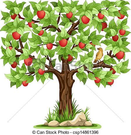 Apple Tree Cartoon Apple Tree Isolated On White Background