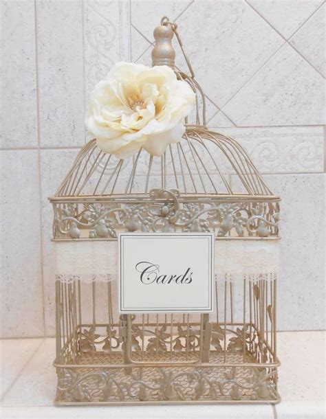 chagne gold wedding birdcage card holder wedding card
