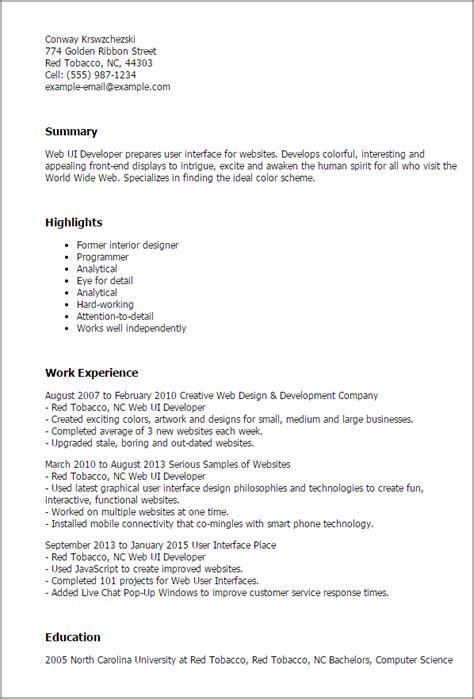 Ui Developer Resume Pdf by Professional Web Ui Developer Templates To Showcase Your