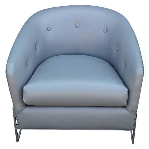 pair of milo baughman barrel back club chairs in grey