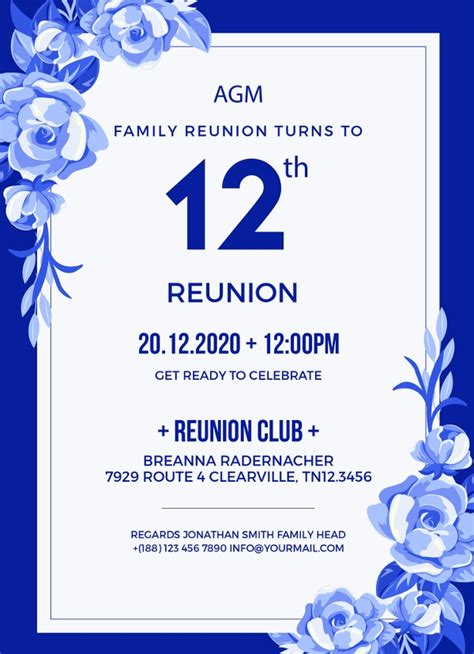 family reunion invitation template  psd vector
