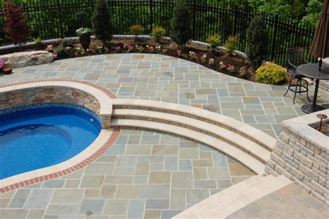 bluestone pool and outdoor room traditional patio