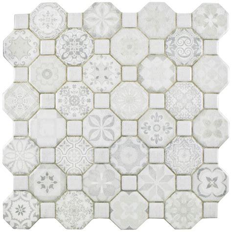 white glass floor tile merola tile tessera white 12 1 4 in x 12 1 4 in ceramic floor and wall tile 14 11 sq ft