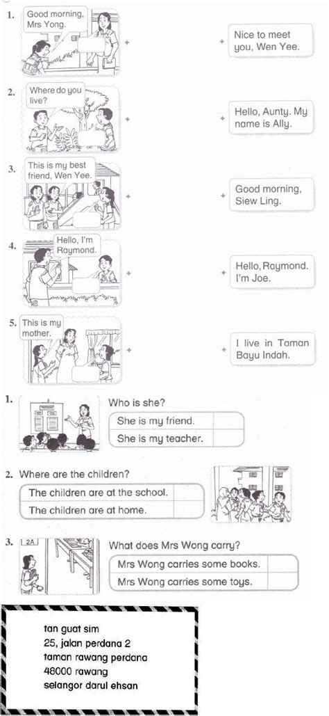 english year 2 kssr monthy test revision for the kids