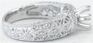 Antique Filigree Design Diamond Semi Mount Ring With