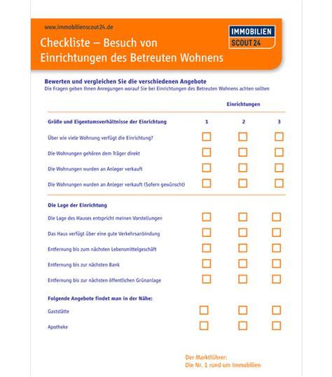 Ausstattung Wohnung Checkliste by Checkliste F 252 R Ihren Besuch Einer Einrichtung