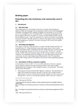 briefing paper template briefing paper on extending the of primary and community care in hiv