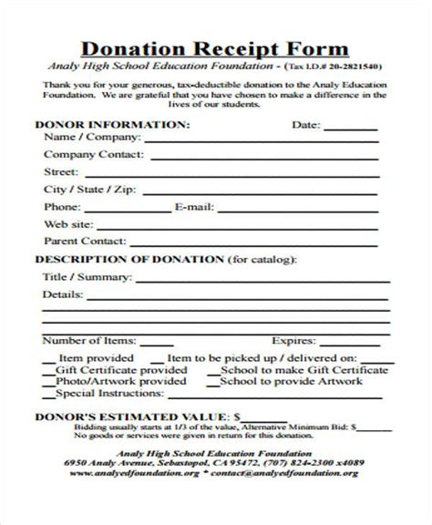 printable receipt forms
