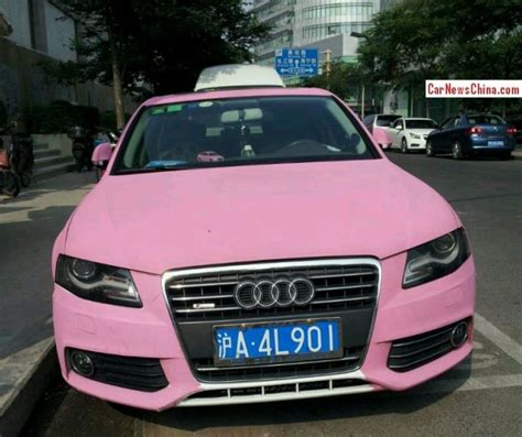 light pink audi audi a4l with a license is double matte pink in china