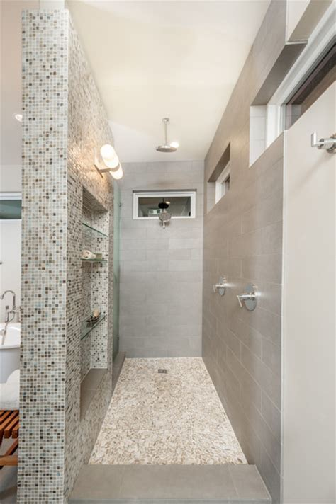 open walk in shower   Transitional   Bathroom   dallas