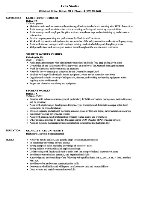 Sle Student Worker Resume by Student Worker Resume Sles Velvet