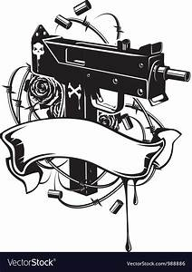 Machine Gun With Barbed Wire And Ribbon Royalty Free Vector