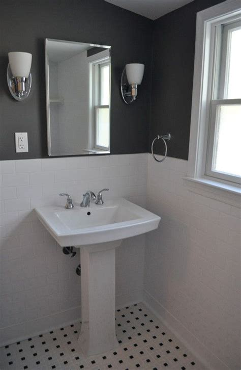 Bathroom White Walls Black Accent  Like Charcoal Aren't