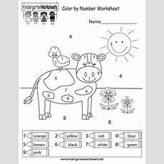 Color By Number Worksheet  Free Kindergarten Math Worksheet For Kids