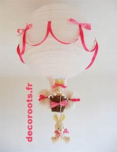 Lustre Montgolfière Bebe : lampe montgolfi re enfant b b lapin rose et beige parme enfant b b luminaire enfant b b ~ Teatrodelosmanantiales.com Idées de Décoration