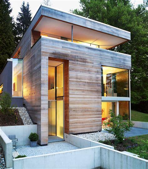 Grundriss Haus Hanglage by Kleiner Grundriss Am Hang Modernes Einfamilienhaus
