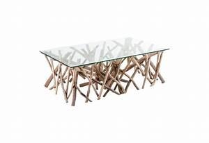 Table Plateau Verre Pied Bois : table basse rectangulaire bois flott et plateau verre vical home v ~ Melissatoandfro.com Idées de Décoration