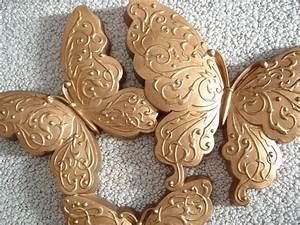 Vintage homco gold butterflies wall decor plaque