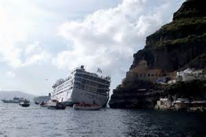 the cruise ship sea diamond at the santorini port abc