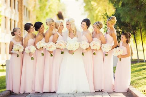 Beautiful Light Pink Bridesmaids Dresses.