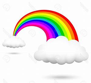 Drawn rainbow cloud clip art - Pencil and in color drawn ...